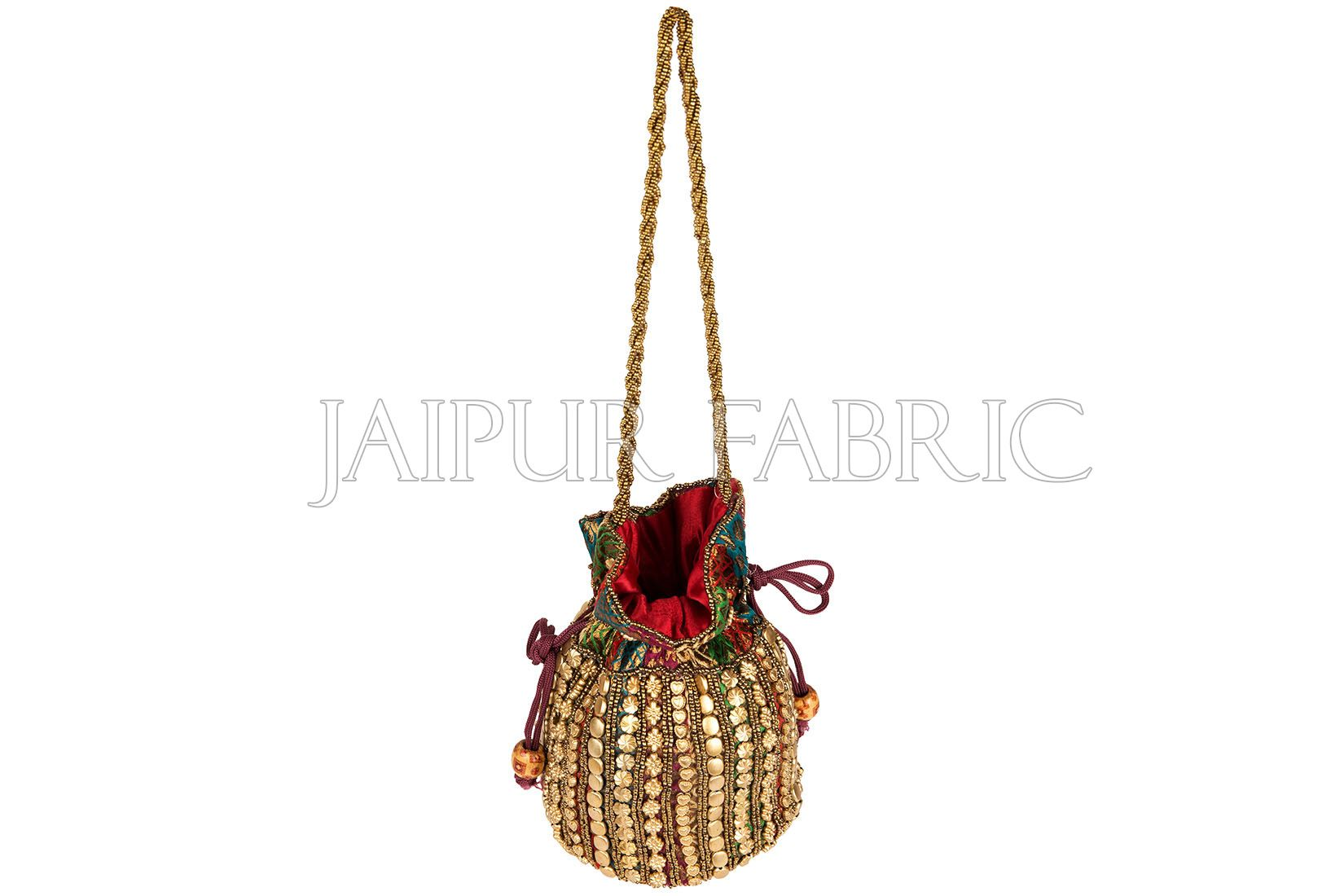 Golden Pattern Beadwork With Zari Embroidered Border Potli