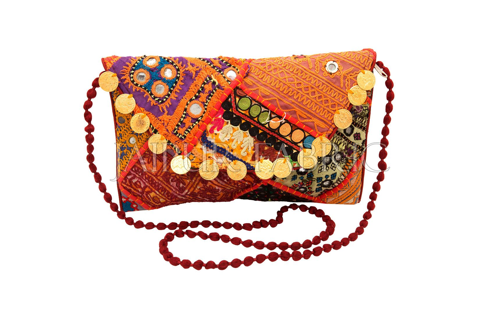 Hand Embroidered Patchwork With Golden Coins Clutch