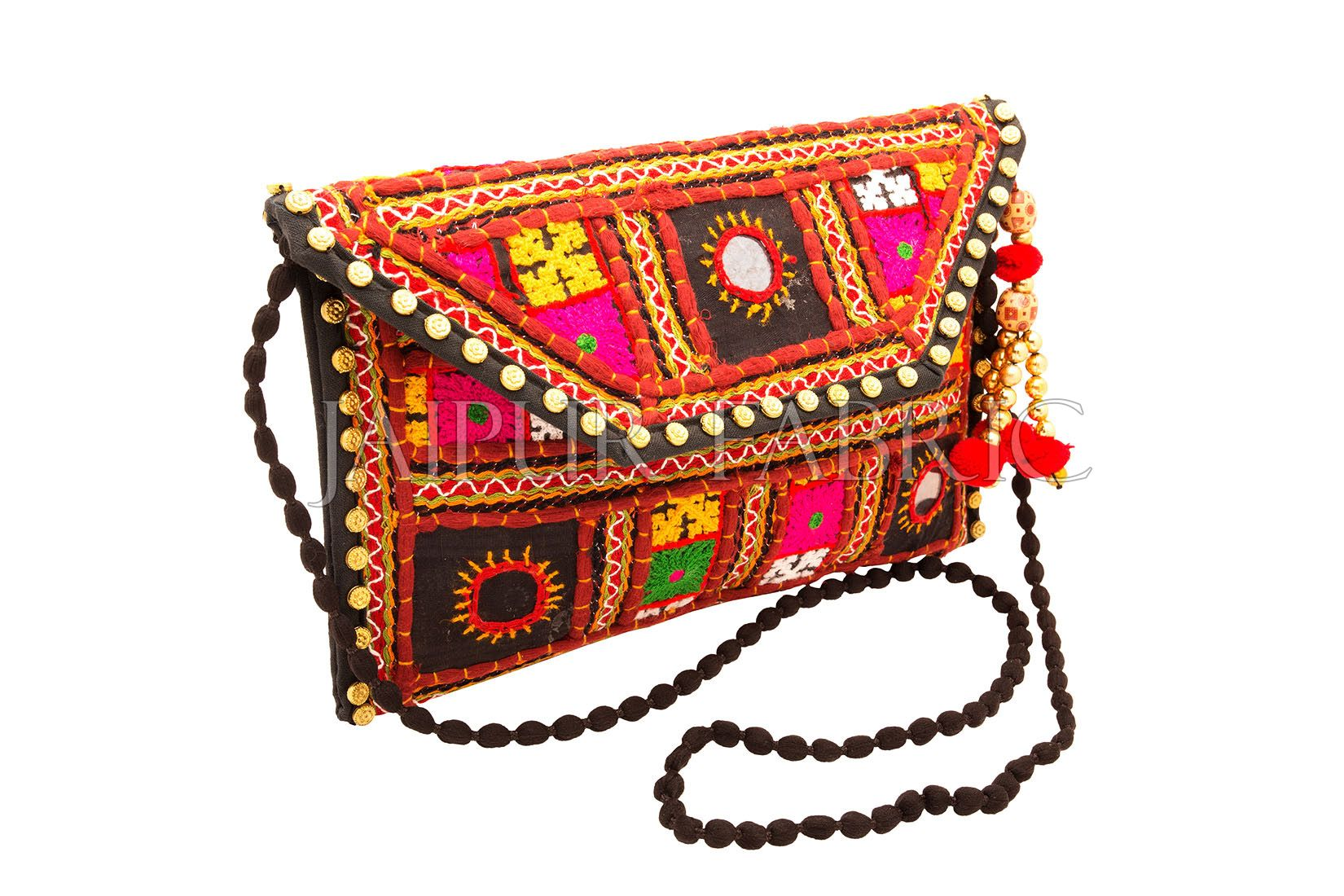 Sikri Work With Tussels & Golden Beadwork Clutch