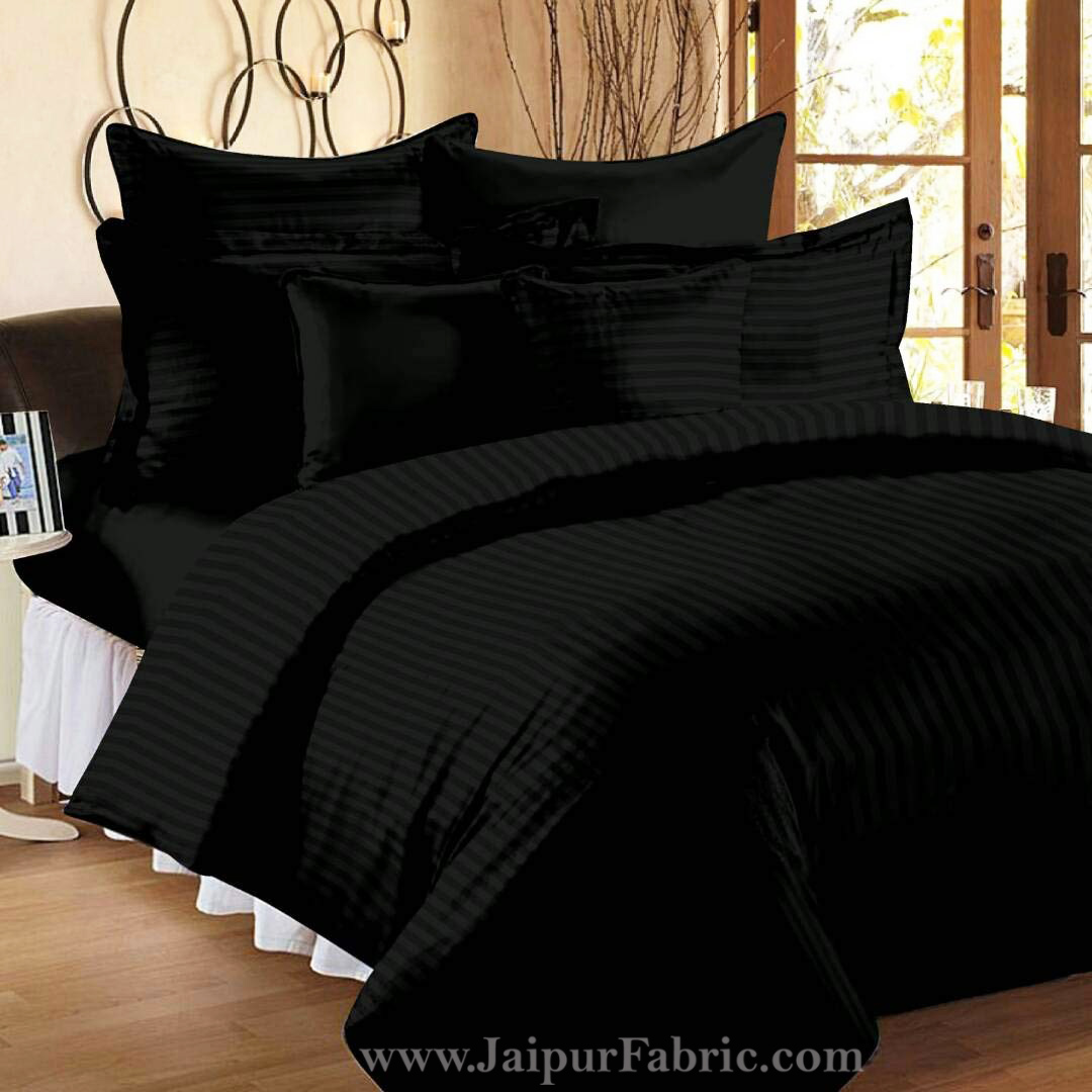 Awesome Black Self Design 300 TC King Size Pure Cotton Satin Slumber Sheet for Double Bed with 2 pillow covers