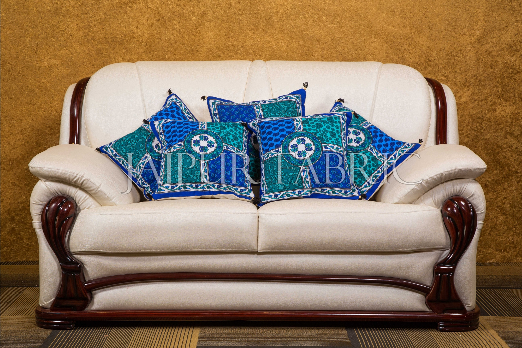 Blue Pottery With Foam Block Print Cushion Cover