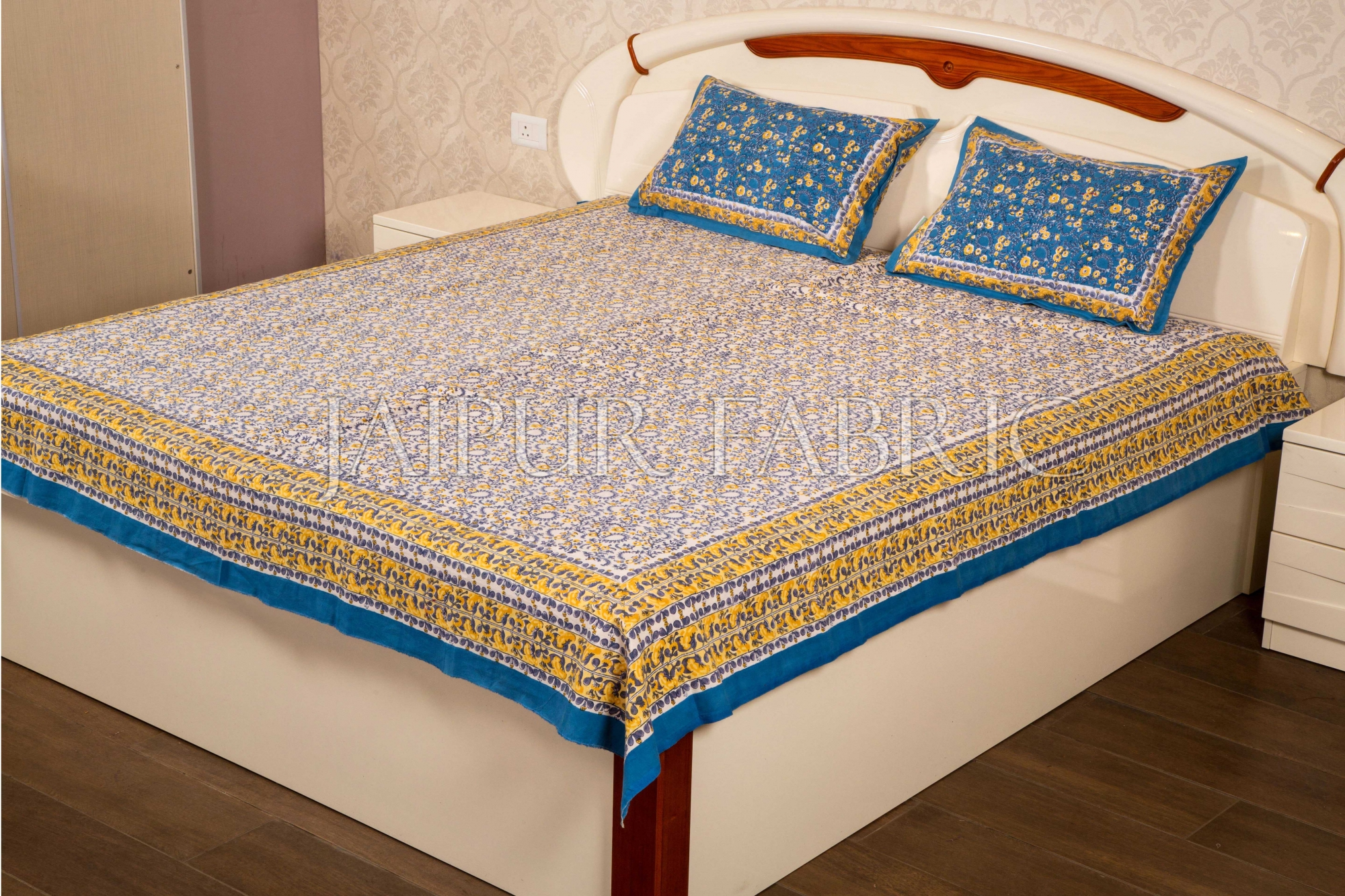 Blue with White Base Flower Hand Block Print Double Bed Sheet with Two Pillow Covers