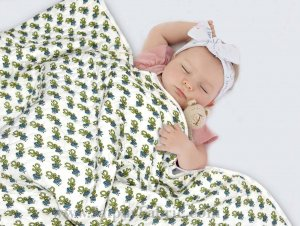 Baby Blanket Newborn Green & Grey Soft Crib Comforter and Toddler Swaddling Blankets for Babies 120 x 120 cm Colourful White Base Baby Quilt