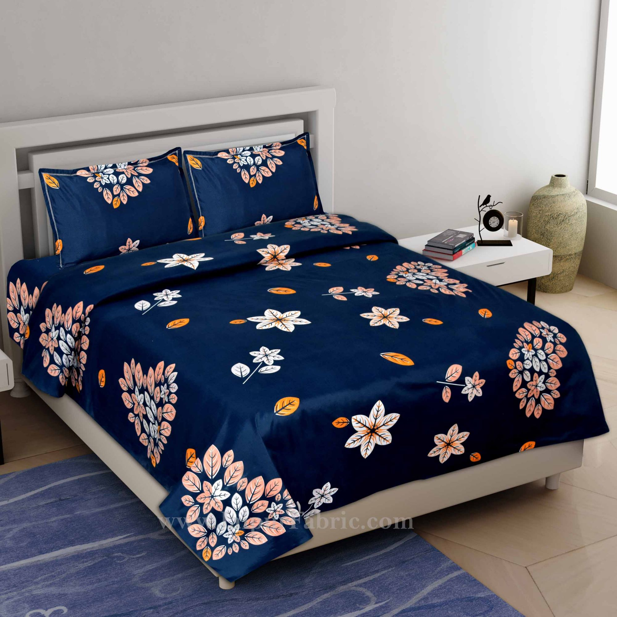Royal Blue Premium Poly Cotton Double Bedsheet