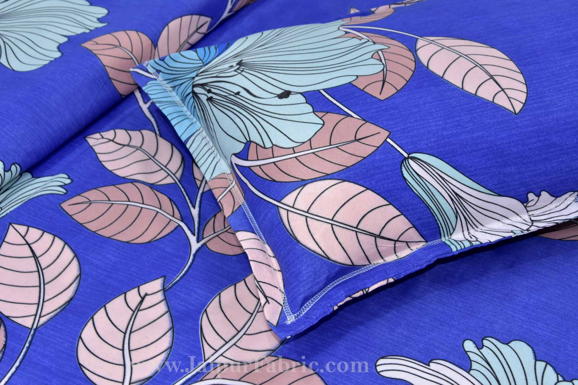 Refreshing Blue Premium Poly Cotton Double Bedsheet