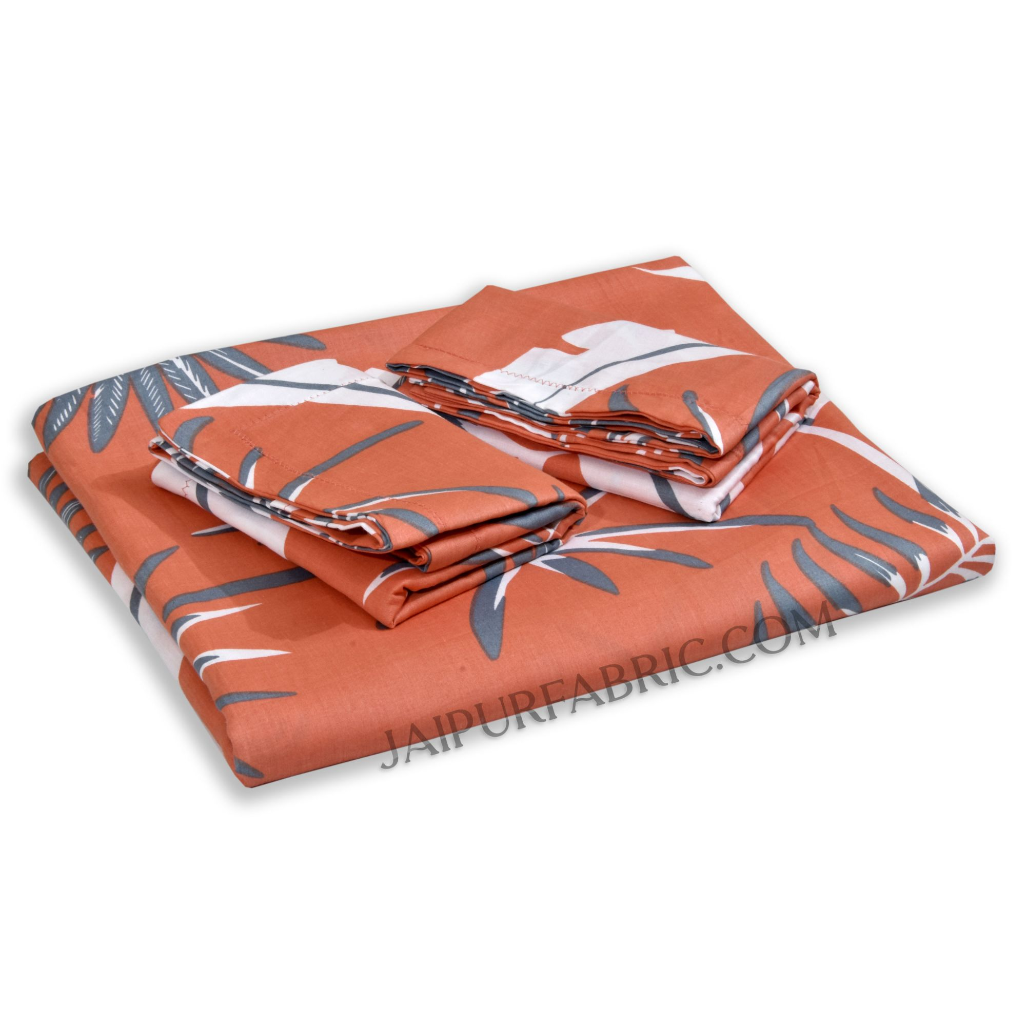 Bright Orange Foliage King Size Bedsheet