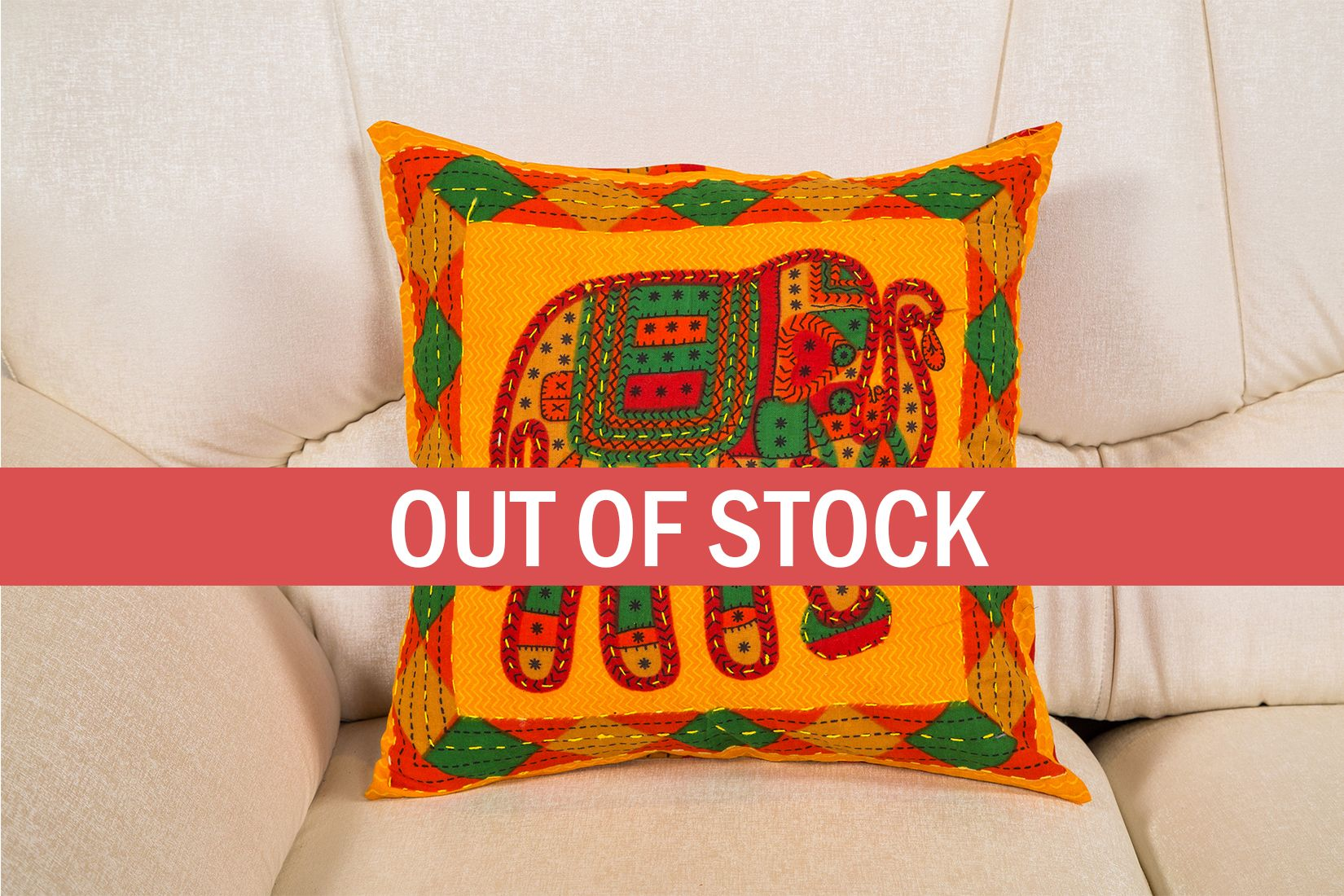 Yellow Jaisalmer handmade Embroidery with Thread work Elephant Print Cushion cover