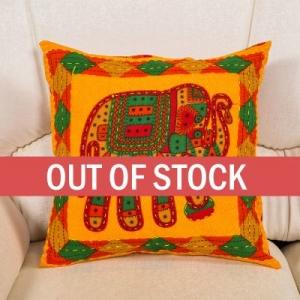 Yellow Jaisalmer handmade Embroidery with Thread work Elephant Print Cushion cover