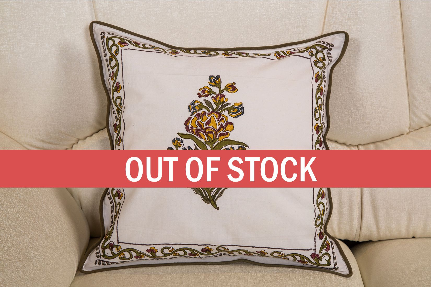 Green Sanganeri Print Double Sided printed Cushion cover