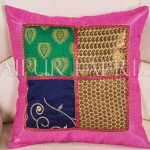 Multi Color Patch Work Gold Print with Pink Base Cushion Cover