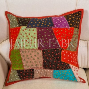 Multi-Color Patch Work with Embroidery  Cushion Cover