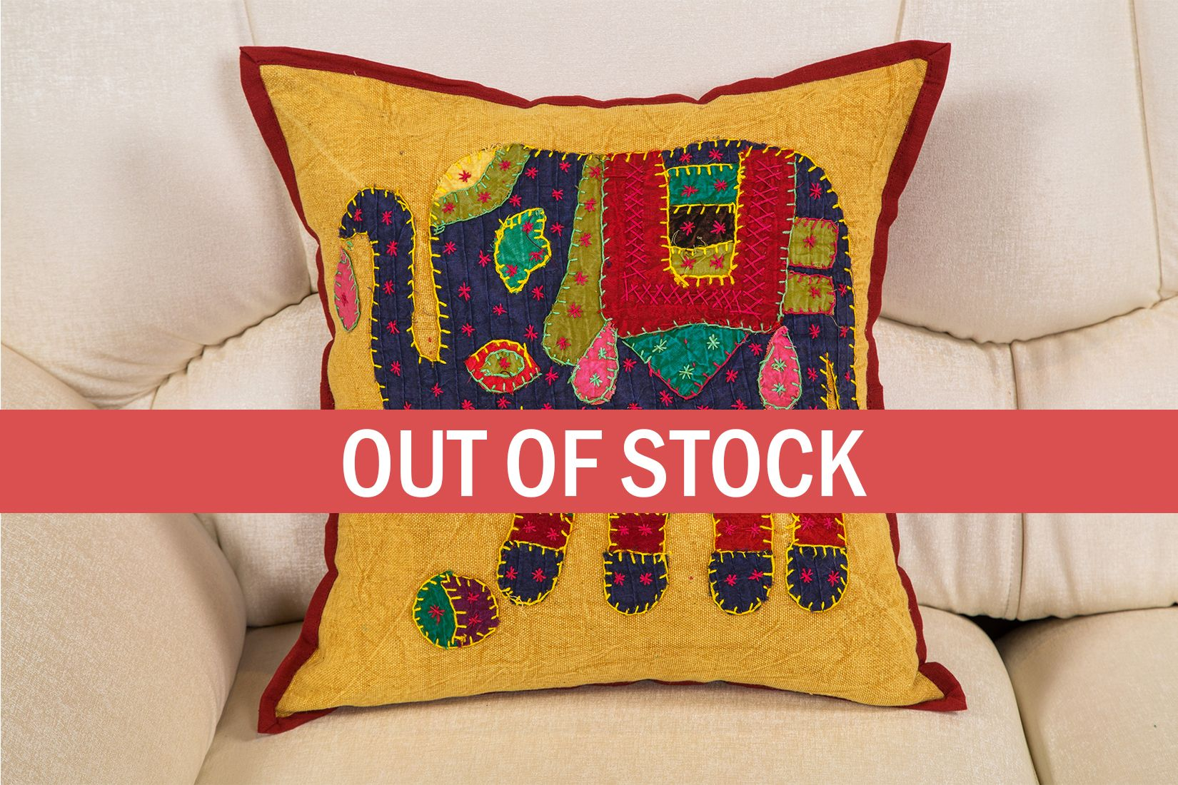 Elephant Patch work Multicolor with embroidery Cushion Cover