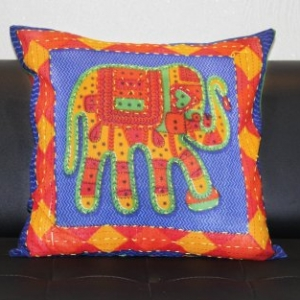 Blue Jaisalmer handmade Embroidery with Thread work Elephant Print Cushion cover