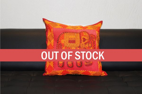 Red Jaisalmer handmade Embroidery with Thread work Elephant Print Cushion cover