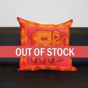 Red Jaisalmer handmade Embroidery with Thread work Elephant Print Cushion cover