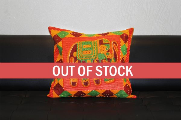 Orange Jaisalmer handmade Embroidery with Thread work Elephant Print Cushion cover