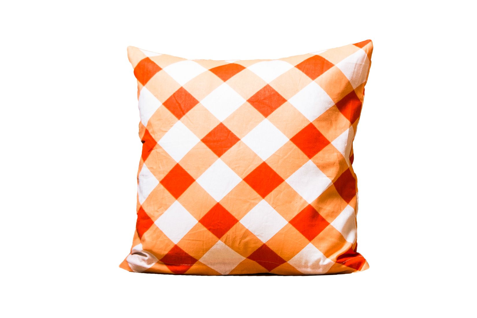 Orange checkered Plaid Pattern Cushion Cover