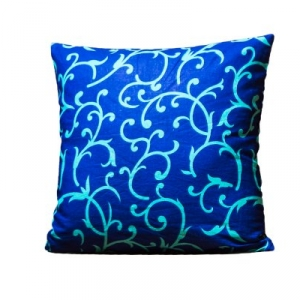 Blue Base Leaf Print Cushion Cover