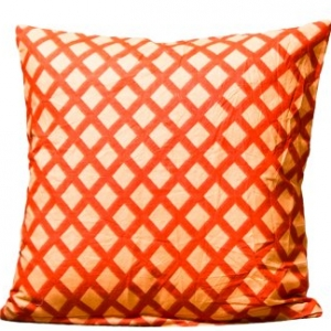 Peach Color Orange Square Print Cushion Cover