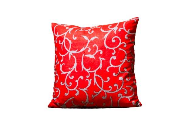 Red Base Leaf Print Cushion Cover
