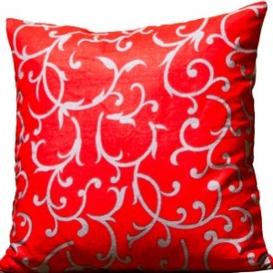 Red Base Leaf Print Cushion Cover