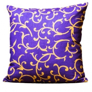 Purple Base Leaf Print Cushion Cover
