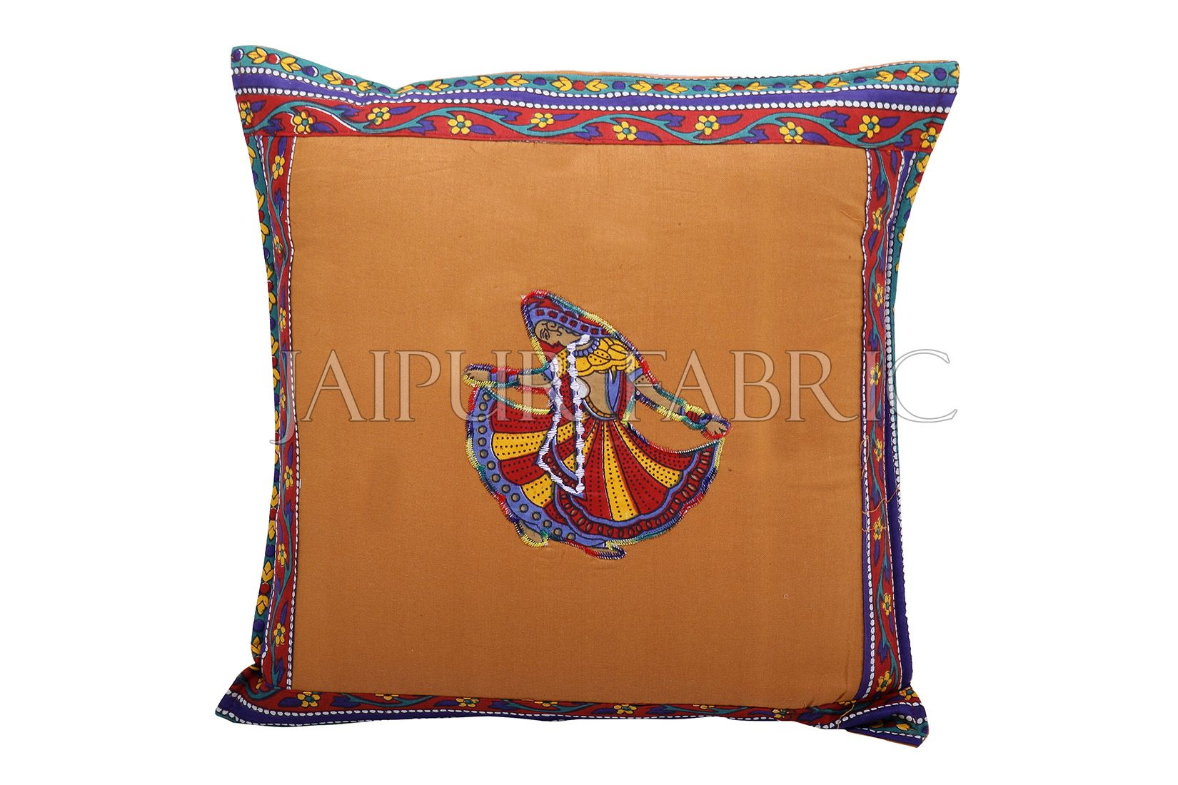 Brown Color Ghoomar Patch Work Cotton Cushion Cover
