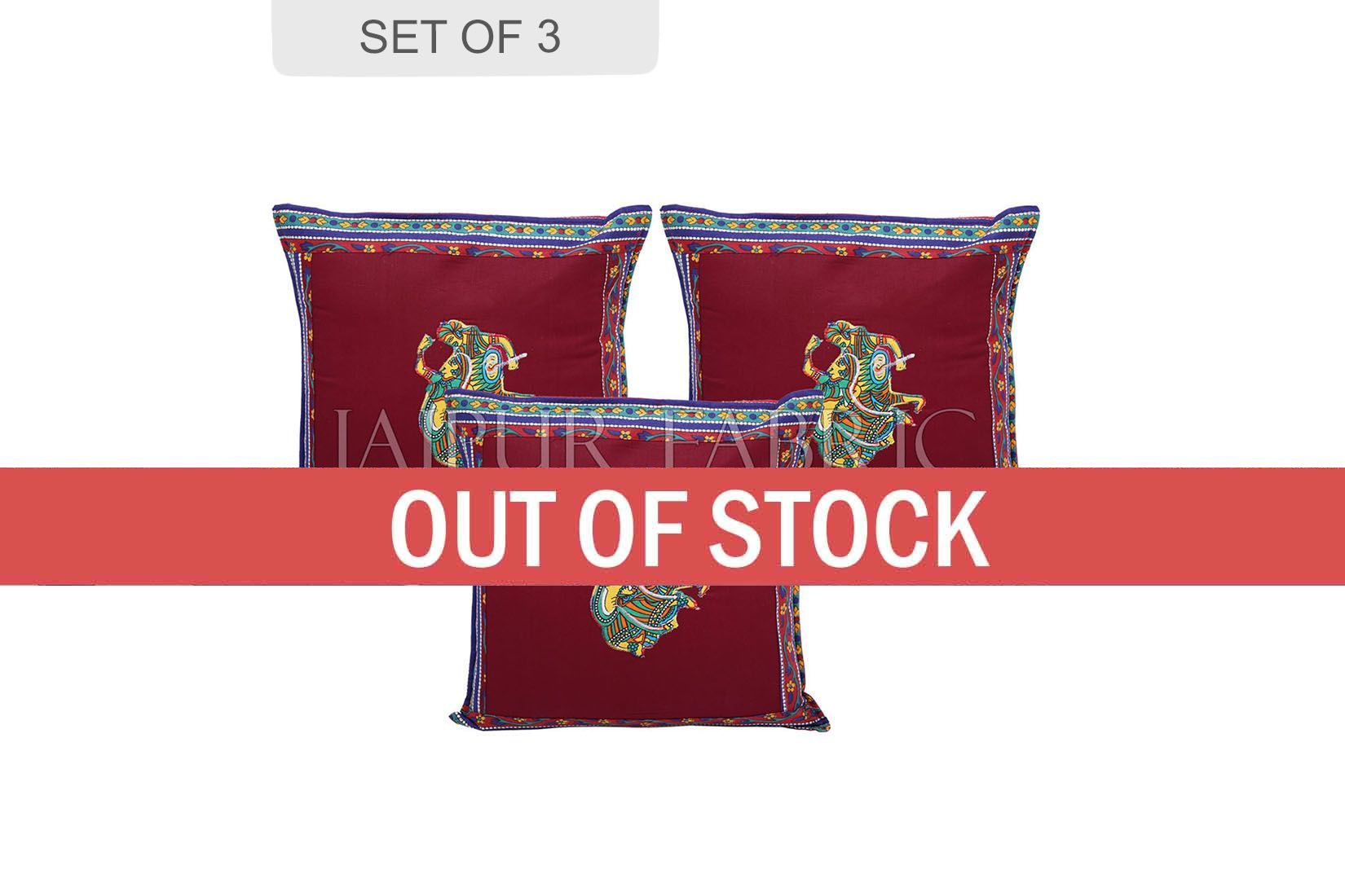 Maroon Color Traditional Folk Dance Patch Work Cotton Cushion Cover
