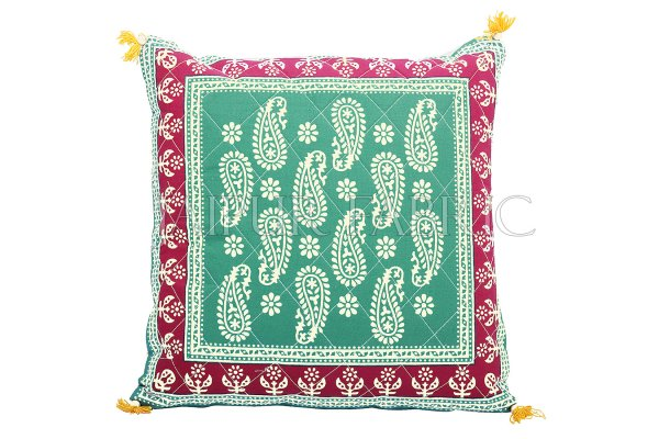 Green Base Maroon Border Keri Design Cotton Cushion Cover