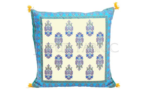 Cream Base with Cyan Border Rajasthani Kalash Design Cotton Cushion Cover