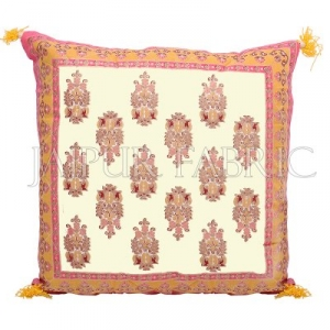 Cream Base with Orange Border Rajasthani Kalash Design Cotton Cushion Cover