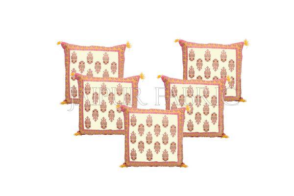 Cream Base with Orange Border Rajasthani Kalash Design Cotton Cushion Cover