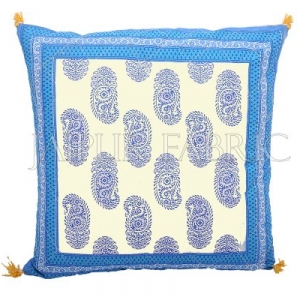 Blue Border Keri Block Print Cotton Cushion Cover