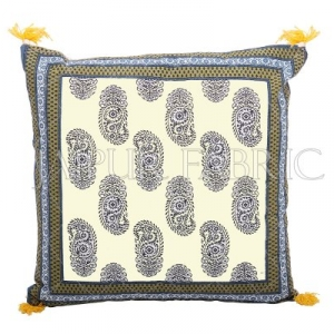 Moss Color Border Keri Block Print Cotton Cushion Cover