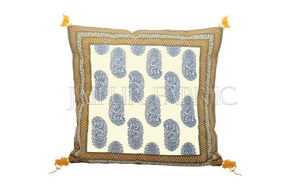 Olive Color Border Keri Block Print Cotton Cushion Cover