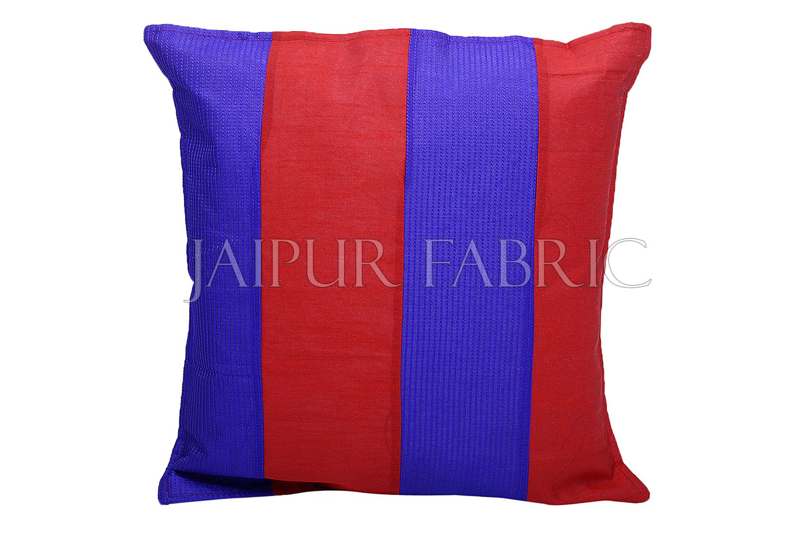 Red and Blue Thread Work Cotton Satin Silk Cushion Cover