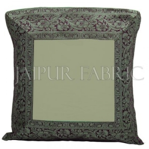 Green Base with Black Gota Work Border Cotton Satin Silk Cushion Cover
