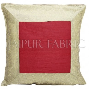 Red Base with Golden Gota Work Border Cotton Satin Silk Cushion Cover