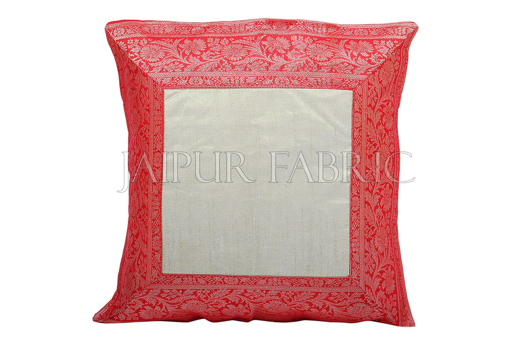 Green Base with Red Gota Work Border Cotton Satin Silk Cushion Cover
