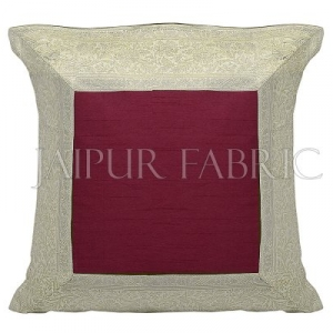 Maroon Base with White Gota Work Border Cotton Satin Silk Cushion Cover