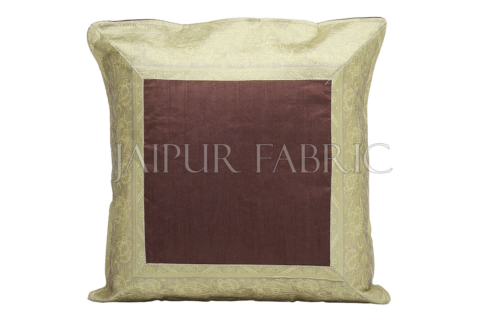 Brown Base with Golden Gota Work Border Cotton Satin Silk Cushion Cover