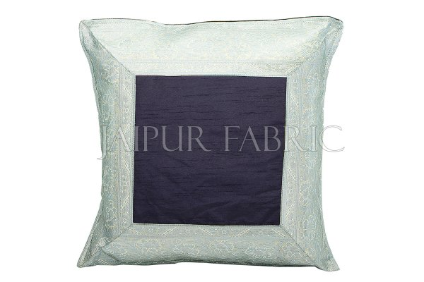 Black Base with Silver Gota Work Border Cotton Satin Silk Cushion Cover