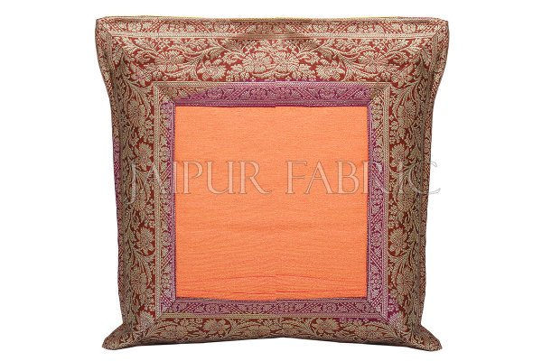 Orange Base with Maroon Gota Work Border Cotton Satin Silk Cushion Cover