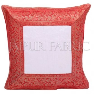 White Base with Red Gota Work Border Cotton Satin Silk Cushion Cover
