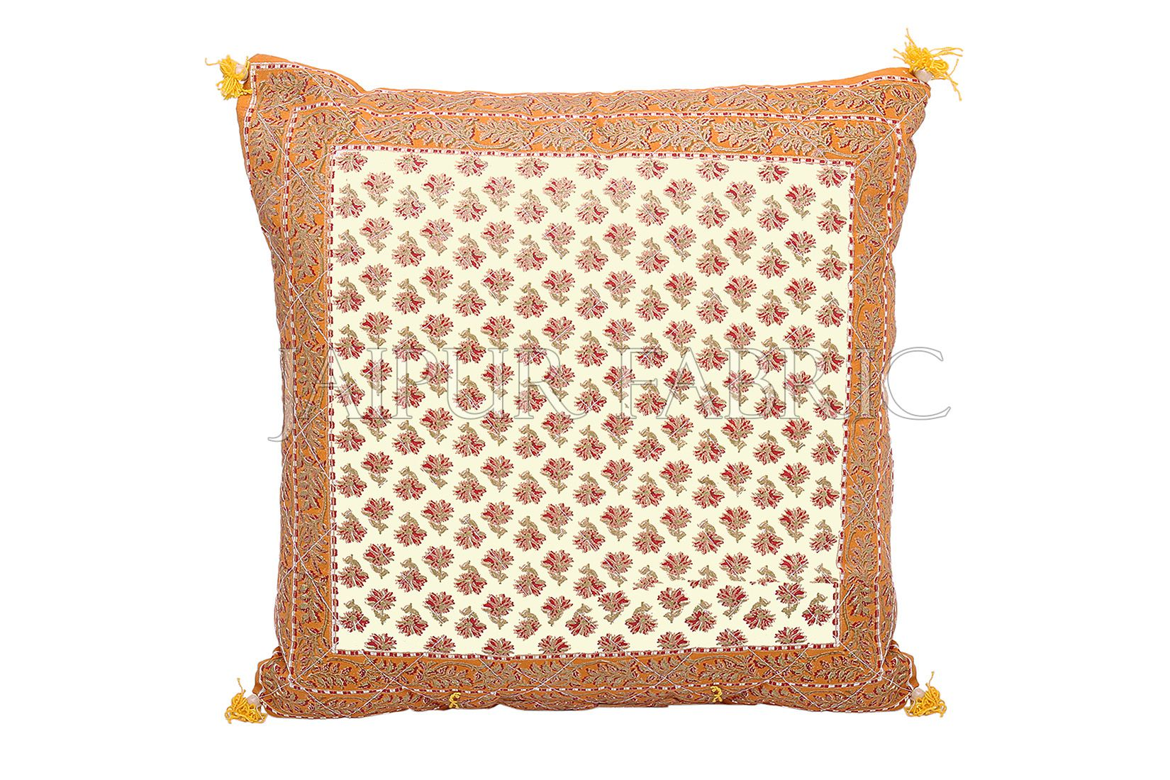 Orange Flower Print with Tropical Border Cotton Cushion Cover