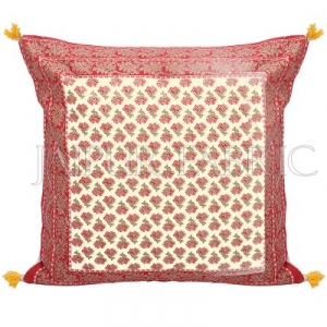 Red Flower Print with Tropical Border Golden Print Cotton Cushion Cover