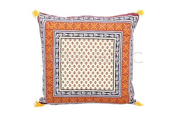 Orange Jaipuri Block Golden Print Cotton Cushion Cover