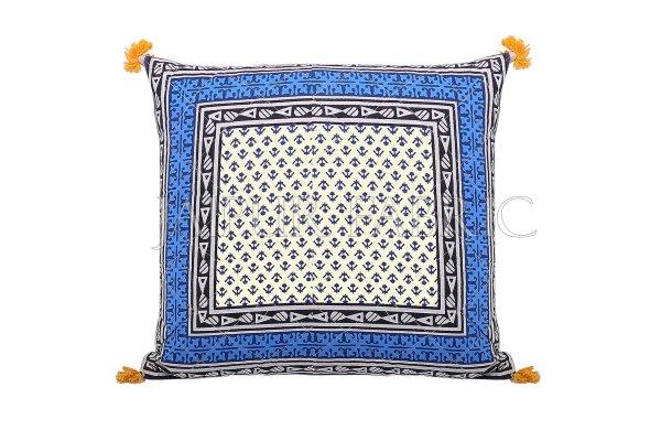 Blue Jaipuri Block Print Cotton Cushion Cover