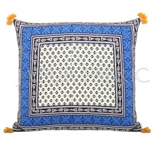 Blue Jaipuri Block Print Cotton Cushion Cover