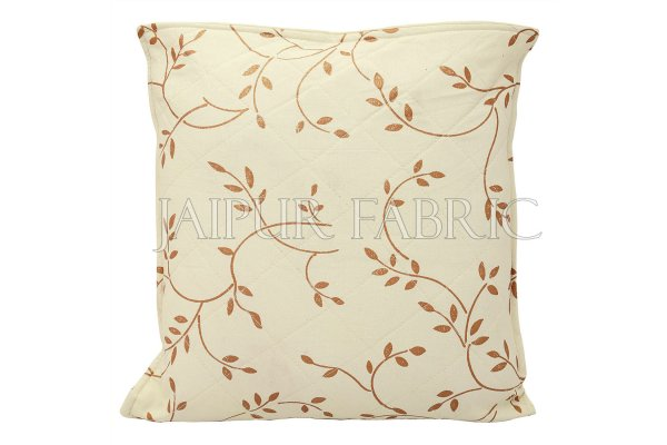 Cream Base Golden Leaf  Print Cotton Cushion Cover